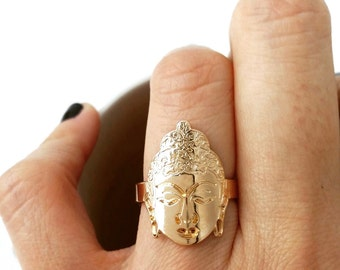 Ring gold-plated Buddha 750/000 - Buddhist ring gold, gold-plated 750 thousandths - adjustable size - Buddha ring 750 gold plated