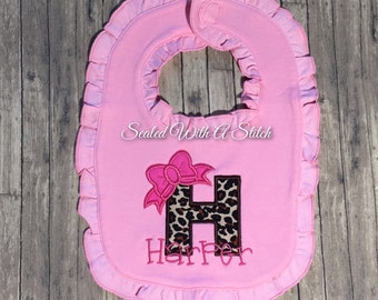 Pink or White Ruffle Baby Girl Bib / Burp Cloth / Onesie