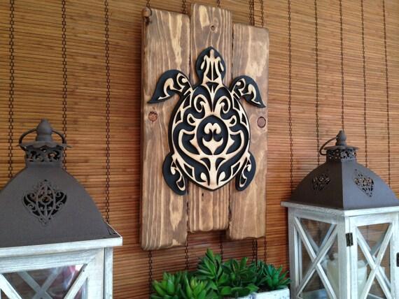 Wall Art Hawaiian Sea Turtle Home Decor Rustic Decor Wood
