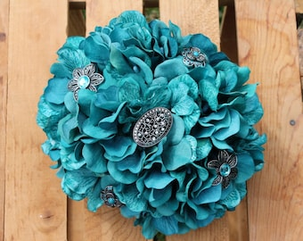 Bridal or Bridesmaid Brooch Bouquet or Centerpiece - Teal