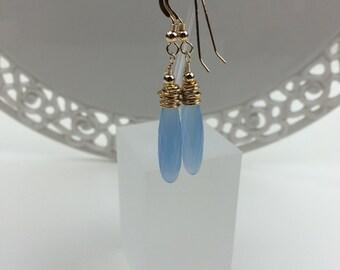 Blue Chalcedony Drop Earrings EE 26