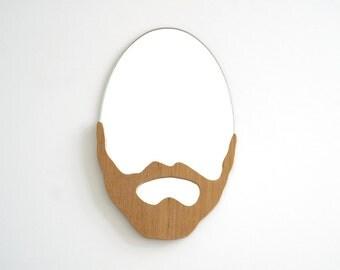 POGO /// Miroir barbe en bois, cadeau design original et contemporain