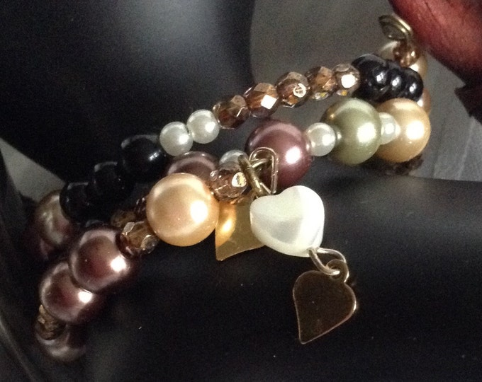 Glass Pearl Wrap Around 3 Heart Bracelet..with a tiny white Mother of Pearl Heart