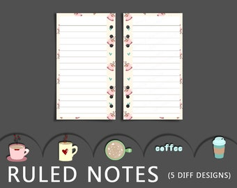 Personal Planner Inserts - Printable Ruled Notes - 5 Different Coffee Inspired Designs