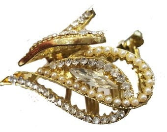New Gold  With Pearl and Rhinestone 1 1/2 '' Hair Claw Clip