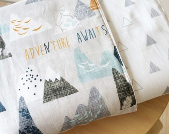 Modern Baby crib blanket. Reversible cot quilt. Adventure mountains baby bedding. Modern baby bedding set.