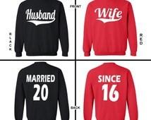 Husband Wife Married Since -Couple Crewneck-Couple Sweatshirt -Couple Love-Married Since-Hubby Wifey -Custom Crewneck -Mr Mrs -Love Crewneck