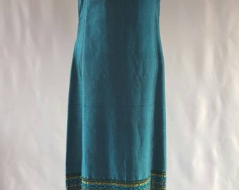 Vintage Teal 60s 70s Maxi Dress