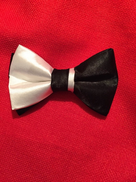 satin black and white bowtie formal bowtie satin bow tie