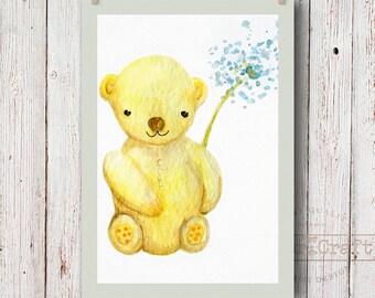 Teddy bear watercolor Nursery Art print Baby's bedroom Illustration Newborn art Handpainted watercolor bear printable Children's decor