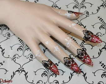 Fantasy Claws (black/ red tips / red rhinestones)