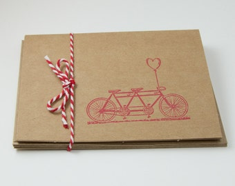 Tandem Bike Blank Cards Heart Folded Simple Set of 5 hand stamped with envelope Valentines Day