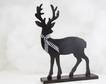 Black and White Reindeer Holiday Decoration Striped Ribbon Handpainted Wood Deer Woodland Christmas Decoration