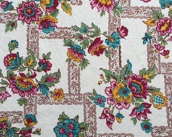 Vintage Floral Barkcloth Fabric Piece 110cm x 156cm