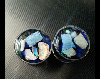 "5/8"" (16mm) double flare pair of opal and lapis plugs"