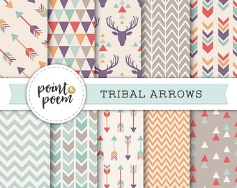 Arrows Tribal Digital Papers Pink Mint Green Printable Papers Arrows Triangles Chevron Antlers Deer Hipster