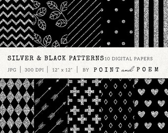 Silver Glitter Digital Paper, Black, Patterns, Silver Background, Scrapbooking, Chevron, Stripes - Commercial Use