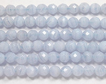 GENUINE Blue lace agate faceted round beads 6 mm 8 inch strand