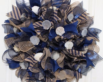 New England Scallop Shell Deco Mesh Wreath