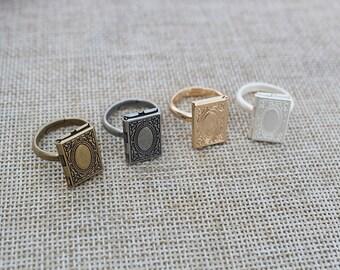 Locket Ring,book shape locket Rings