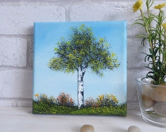 Original Oil Painting 'Green Tree and Blue Sky'