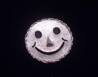 Happy Face Rhinestone Eyes Vintage Pin Pendant With Moving Rhinestone Eyes