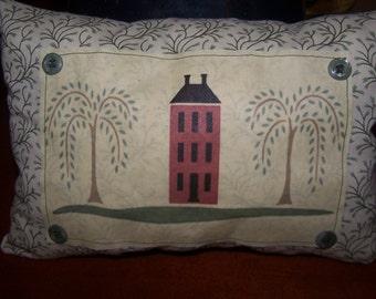 "Primitive Salt Box House Throw Pillow, 12"" x 8 1/2, Small Accent Pillow, Country Pillow Tuck"