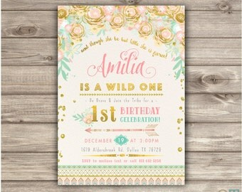 Wild One Birthday Invitations Pink and Gold Party girl First Zoo Animals Birthday Printable boho Zoo birthday Tribal Safari Arrow NV2237