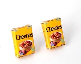 Miniature Cheerios Cereals Earrings, miniature food jewelry,  cereal earrings, kawaii, cute, accessories
