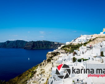 Santorini Poster/Photograph, Greek Island, Greece, Oia, Travel, Landscape, Blue Sky, Town, Traditional, Print, Wall Art,
