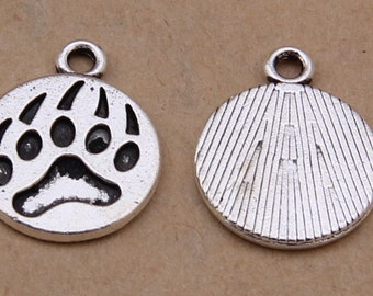 100pcs 15x18mm Antique Silver Bear's-paw Charm Pendants Y686
