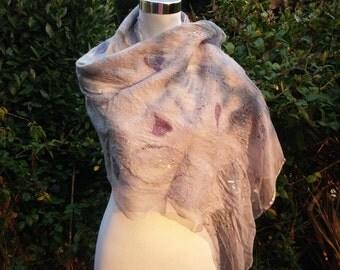 Glamorous Glittery Nuno Felt Lightweight Scarf Shawl Stole Silk Chiffon Handmade OOAK