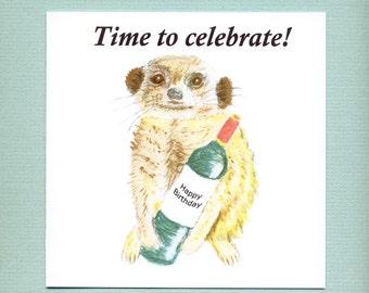 Meerkat birthday card, cute animal card with wine