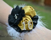2016 Prom Gold Black Satin Flower Wrist Corsage | Sequin Feather Corsage Elastic Wristlet | Homecoming | Gatsby Inspired | Sweet 16 Birthday