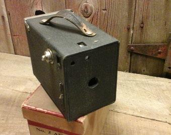 Vintage Ansco Box Camera In Original Box and Instruction Manual, Vintage Camera, Shelf Decor, Home Decor Photography Collectable,