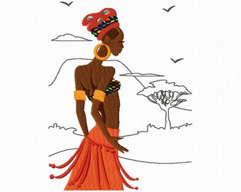 2 African women for machine embroidery embroidery format 5 x 7