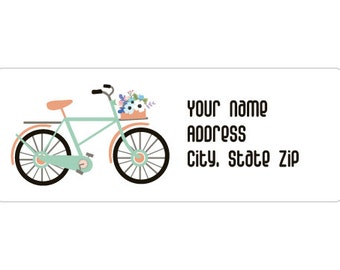 120 Labels - Label C0001 : Bicycle with Flowers Return Address Labels