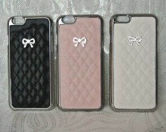 Silver Monogram Fashion Charm, or Bow Case (2 Styles) for Iphone 6 6s, Iphone 6 6s PLUS, with Swarovski Crystals, Leather Quilted, Sparkles!