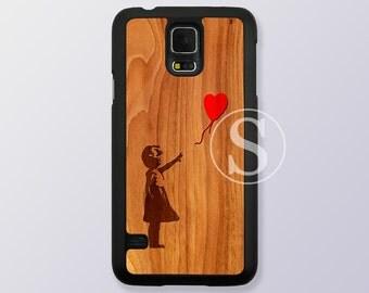 Samsung Galaxy S5 case, wood Samsung Galaxy S4 case, Samsung Galaxy S6 case, Wood print Samsung S3 case, banksy balloon girl, SB-24