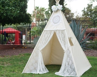 Vintage lace teepee tent with nature canvas/kids Play tent/ girls lace Tipi Wigwam : teepee tents for adults - memphite.com