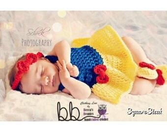 Snow White 3 piece set - Newborn to 6 month - crochet made to order