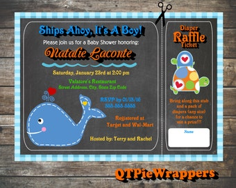 Printable Ahoy Baby Shower Whale Invitations Personalized attached Raffle Ticket Party Favor Boat Nautical Ocean Turtle Girl or Boy