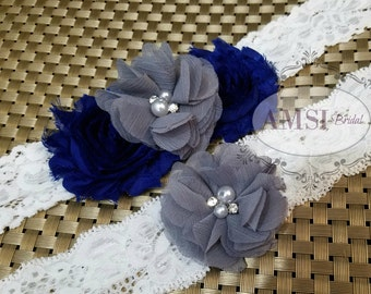 Royal Blue garters,Gray Garters, Grey garter,Garter Set, Toss Garter,Royal Blue Wedding,Gray wedding,Garter Belt,Custom garter,Silver garter