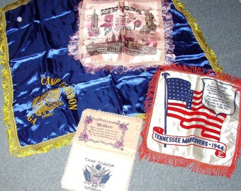 LOT WWII Sweetheart Pillowcases Tennessee Maneuvers Camp Gordon & More