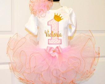 First birthday outfit girl in pink and gold,1st birthday outfit,girls 1st birthday outfit,princess birthday outfit,cake smash outfit girl
