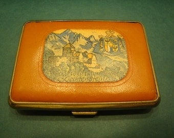 Collectible Vintage Leather Cigarette Case FURSTENTUM Liechtenstein