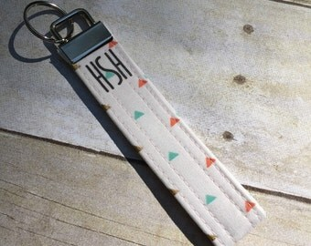 Key Fob - Triangles Pink, Mint, and Gold