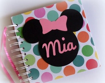 Custom PERSONALIZED  Rainbow Polka Dot Disney Autograph Book Scrapbook Travel Journal Vacation Photo Book