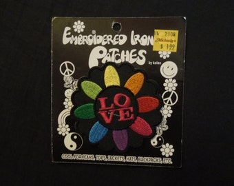 SALE 90s Hippie Love Embroidered Patches NOS