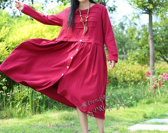Retro delicate linen dress cotton dress plus size dress maxi dress plus size clothing Spring dress Summer dress Autumn dress B1371